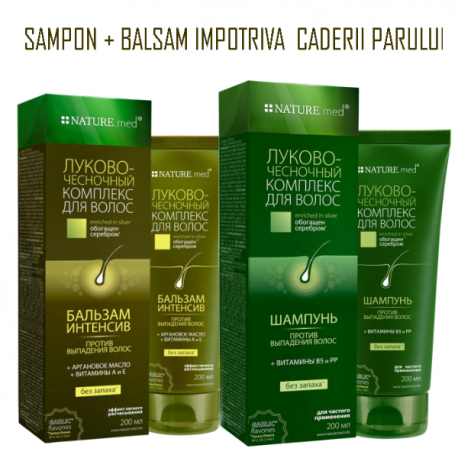 Pachet Sampon si Balsam impotriva caderii parului 2 x 200ml - NatureMed