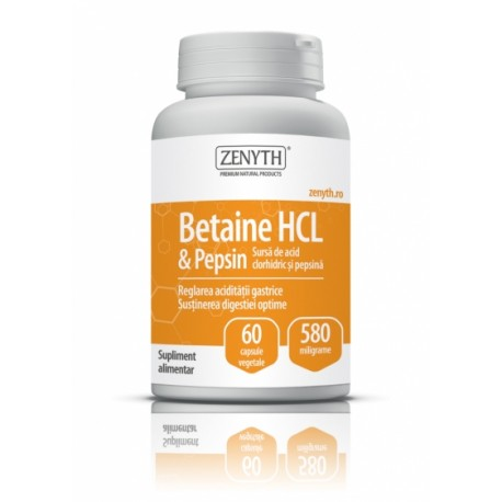 Betaine HCL & Pepsin 60 capsule x 580 mg - Zenyth